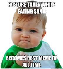 Baby Eating Sand Meme - picture taken while eating sand becomes best meme of all time