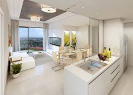 apartment magnificient open plan white kitchen design with