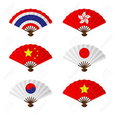 Flag Folding Folding Fan Or Hand Fan Asia Flag Design Set Have Thailand Hong
