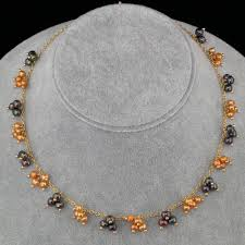 gold orange necklace images Burgundy orange pearl dangles gold chain necklace land and sea jpg