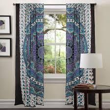 blue tapestry drapes window treatment bohemian set mandala