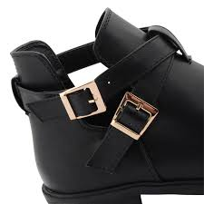 womens ankle boots uk leather womens faux leather cut out buckle stylish chelsea ankle