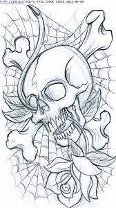 cross bones skull spiderweb and tattoos coloring pages
