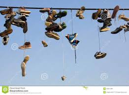 shoes hanging on wire stock photo image 20869900 shoes hanging on wire stock photo