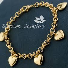 ladies bracelet gold jewelry images S607 18k 18ct gold gf girls love heart charm bracelet euro link JPG