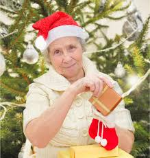 gifts for elderly grandmother grandmother with christmas gifts stock image image of merry