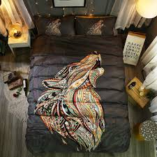 Wolf Bedding Set Colorful Mandala Wolf Bedding Set 3 Pcs The Mandala Store