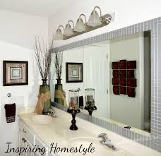 Bathroom Mirror Frames by Gray Wall Paint Mirror With Black Wooden Frame Toilet Paper Holder