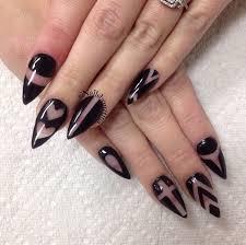 black u0026 clear negative space elegant stiletto nail art in the