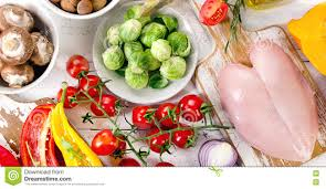 balanced diet food concept fruits vegetables and chicken meat