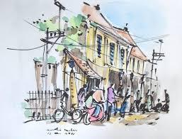 brush pen sketch urban sketchers