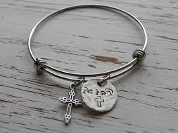 silver bracelet with cross charm images Silver bangle bracelets with crosses myshoplah jpg