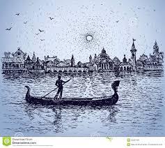 gondolier floats on gondola vector sketch stock vector image