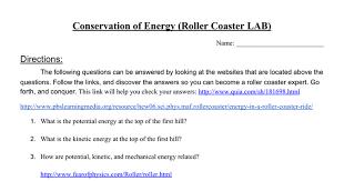 conservation of energy worksheet roller coaster lab google docs
