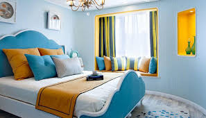 Light Blue Bedroom by Small Living Room Design With Bay Window Interior Design