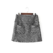 tweed skirt 2018 new women vintage fashion pocket beading decoration casual