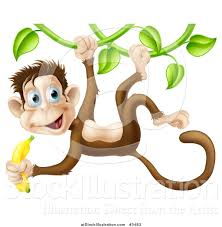 vector illustration of a monkey hanging from a vine and holding a