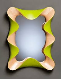 Mid Century Modern Wall Mirror Custom Contemporary Wall Mirror In Carved Maple And Lime Green