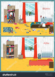dirty clean room disorder interior room stock vector 717604414