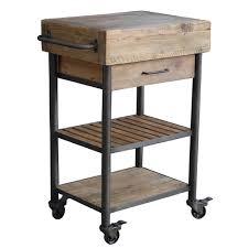 table roulante cuisine desserte en bois et métal 1 tiroir et 2 niveaux sur roulettes hanjel