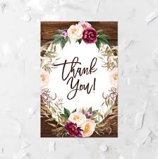 rustic floral thank you card printable floral wood bridal shower