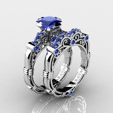 sapphire wedding rings images Art masters caravaggio 14k white gold 1 25 ct princess blue jpg