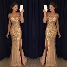 gorgeous gold rhinestone side slit long prom dresses pd0256