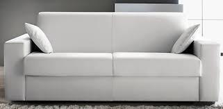 canapé convertible revêtement simili cuir blanc konia modéle 1 place