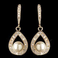 teardrop diamond earrings gold clear cz teardrop diamond white pearl accent drop