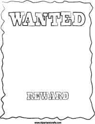 wanted poster coloring page or digital stamp classroom