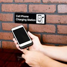 tablecraft 394565 cell phone charging station sign black and