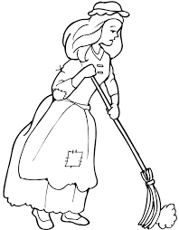 cinderella coloring sweeping floor