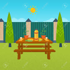 summer picnic table with food and drink outdoor picnic house