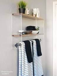 Ikea Hack Bathroom Shelf Thistlewood Farm by Bathroom Shelf And Towel Rack White Steel Train Station Shape Realie
