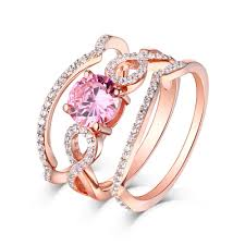 pink rings gold images Round cut pink sapphire rose gold 925 sterling silver 3 piece ring jpg