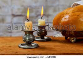 sabbath candles shabbat candles with challah bread and wine cup stock photo