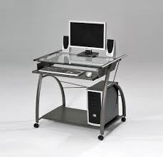 Metal And Glass Computer Desks Acme 00118 Vincent Metal And Glass Computer Desk With Clear Glass