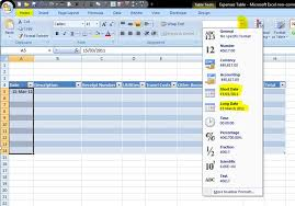 format date in excel 2007 how to format a table in excel 2007 expenses part 2 outofhoursadmin