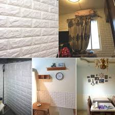 amazon com 5pcs white 3d brick wall stickers self adhesive