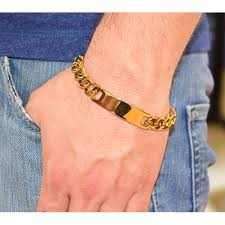 stainless steel gold bracelet images Men s yellow gold plated stainless steel name plate bracelet jpg