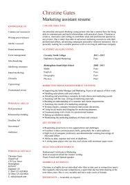 Marketing Assistant Resume 10 Marketing Resume Template Free Word Pdf Samples