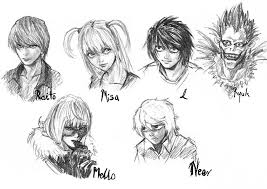 death note characters sketch by black m on deviantart
