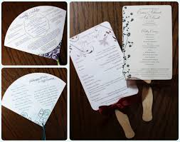 wedding program on a fan custom wedding program fans emdotzee designs