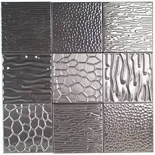 stainless steel metal tiles for bathroom kitchen backsplash metal etched silver stainless steel 4x4 tiles