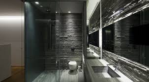 Grey Modern Bathroom Wonderful Stones Exposed Wall Panels Added Wide Wall Mirror And