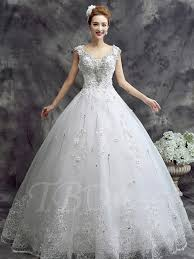 glamorous tulle jewel neckline ball gown wedding dress with lace