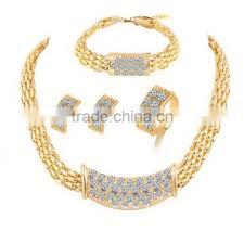 gold necklace bracelet earrings set images Fashion silver bracelet rings earring for bridal 5pcs set saudi jpg