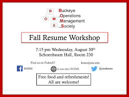 Best Resume Books 2017 by Fall Resume Workshop Buckeye Operations Management Society