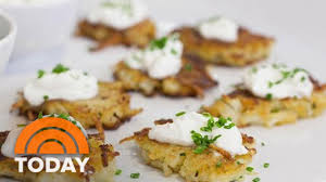 ina garten makes holiday appetizers potato pancakes fig and goat