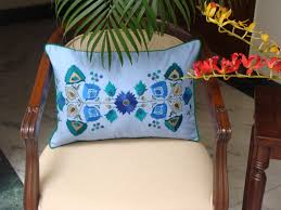 Lumbar Blue Floral Cotton Decorative Pillow Cover Silk Embroidery